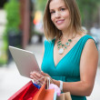 Shopaholic Woman With Tablet PC — Stock Photo