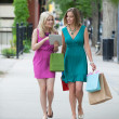 Royalty-Free Stock Photo: Female Friends With Shopping Bags Using Digital Tablet