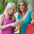 Stock Photo: Female Friends With Shopping Bags Using Digital Tablet