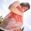 Foto Stock: Pregnant Woman in Park Looking at Belly