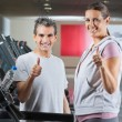 Instructor And Client Showing Thumbs Up Sign In Health Club — Stock Photo