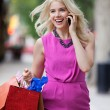 Shopaholic Woman On A Call — Stock Photo #13133416