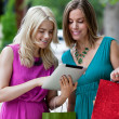 Shopping Women Using Digital Tablet - Stock Photo