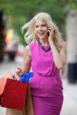 Shopaholic Woman On A Call — Stock Photo