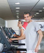 Men Running On Treadmill — Stock Photo