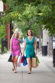 Shopaholic Female Friends Walking On Sidewalk — Stock Photo