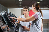 Woman Asking About Machines In Gym — Stock Photo