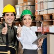 Supervisor And Foreman Gesturing Thumbs Up — Stock Photo