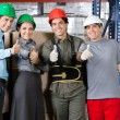 Happy Foremen And Supervisors Gesturing Thumbs Up — Stockfoto