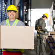 Постер, плакат: Mid Adult Foreman With Cardboard Box At Warehouse