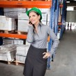 Female Supervisor Using Cell Phone At Warehouse — Stock Photo
