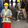 Stock Photo: Mid Adult Foreman With Digital Tablet At Warehouse