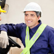 Stock Photo: Forklift Driver Looking At Supervisor
