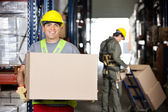 Mid Adult Foreman With Cardboard Box At Warehouse — Stock Photo