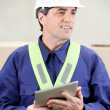Foreman With Digital Tablet Standing in Warehouse — Stockfoto