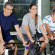 Men And Woman On Exercise Bikes — Stock Photo