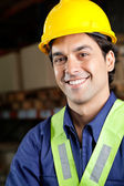 Handsome Foreman Smiling At Warehouse — Stock Photo
