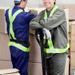Foreman With Colleague Working At Warehouse — Stock Photo