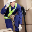 Foreman With Fork Pallet Truck At Warehouse — Stock Photo