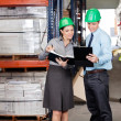 Supervisors And Foreman Working At Warehouse — Stock Photo