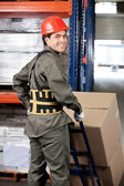 Warehouse Worker Pushing Handtruck — Stock Photo