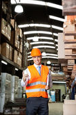Male Supervisor Using Cell Phone At Warehouse — Stock Photo