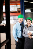 Supervisors With Digital Tablet At Warehouse — Stock Photo