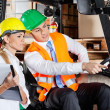 Male Supervisor Showing Something To Colleague At Warehouse — Stock Photo
