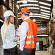 Supervisors Communicating At Warehouse — Stock Photo