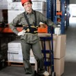 Foreman With Handtruck Loading Cardboard Boxes — Stock Photo