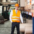 Confident Supervisor Standing At Warehouse — Stock Photo
