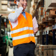 Supervisor Using Cell Phone At Warehouse — Stock Photo