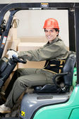 Portrait Of A Confident Forklift Driver — Stock Photo