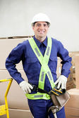 Confident Foreman In Protective Clothing Standing At Warehouse — Stock Photo