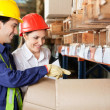 Stock Photo: Supervisor And Foreman Checking Stock At Warehouse