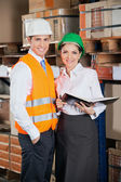 Two Young Supervisors At Warehouse — Stock Photo