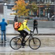 Male Cyclist With Backpack On Street — Stock Photo