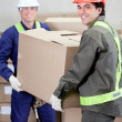 Foremen Lifting Cardboard Box in Warehouse - Stock Photo