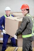 Brygadzistów podnoszenia kartonowe pudełko w magazynie — Zdjęcie stockowe