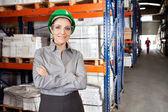 Female Supervisor Wearing Protective Eyeglasses At Warehouse — Stock Photo