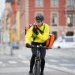 Cyclist With Courier Bag Using Walkie-Talkie — Stock Photo #15440751