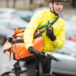 Male Cyclist With Courier Bag Using Walkie-Talkie — Stock Photo #15441427