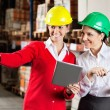 Female Supervisor With Colleague At Warehouse - Stock Photo