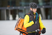 Young Courier Delivery Man Using Walkie-Talkie — 图库照片