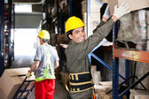 Foreman With Coworker Working At Warehouse — Stock Photo
