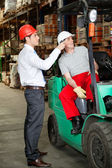 Supervisor Instructing Forklift Driver — Stock Photo