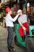 Supervisor Instructing Forklift Driver — Stock Photo