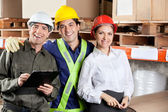 Portrait of Happy Foreman With Supervisors — Fotografia Stock