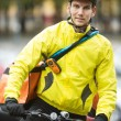 Young Male Cyclist With Courier Delivery Bag On Street — Stock Photo