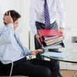 Stock Photo: Businessmen Overwhelmed By Load Of Work